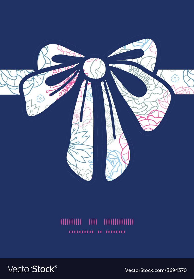 Gray and pink lineart florals gift bow vector | Price: 1 Credit (USD $1)