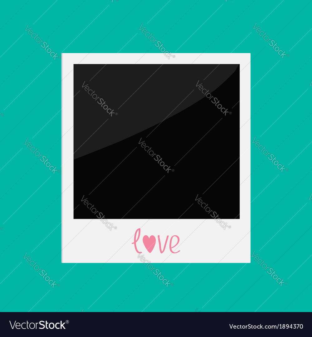 Instant photo with word love in flat design style vector | Price: 1 Credit (USD $1)
