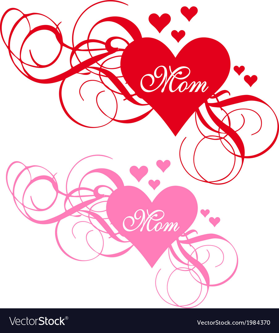 Red heart with swirls mothers day card vector | Price: 1 Credit (USD $1)