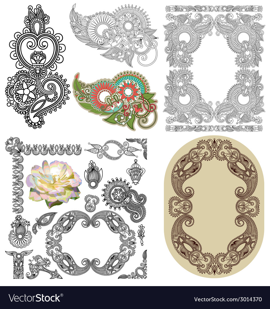 Set of calligraphic design vintage frame and vector | Price: 1 Credit (USD $1)