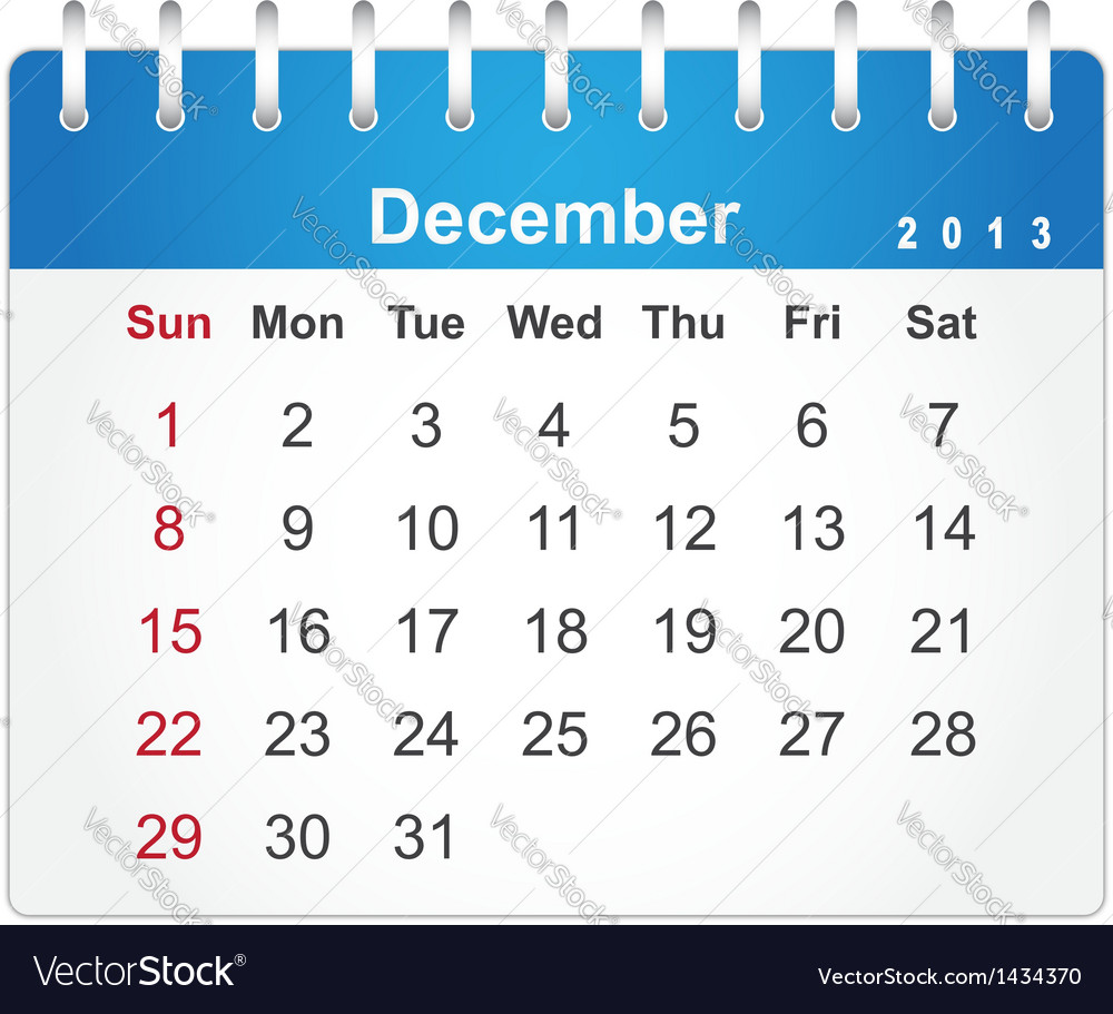 Stylish calendar page for december 2013 vector | Price: 1 Credit (USD $1)