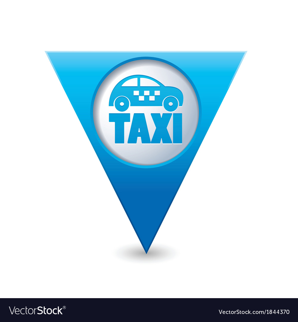 Taxi icon map pointer5 blue vector | Price: 1 Credit (USD $1)