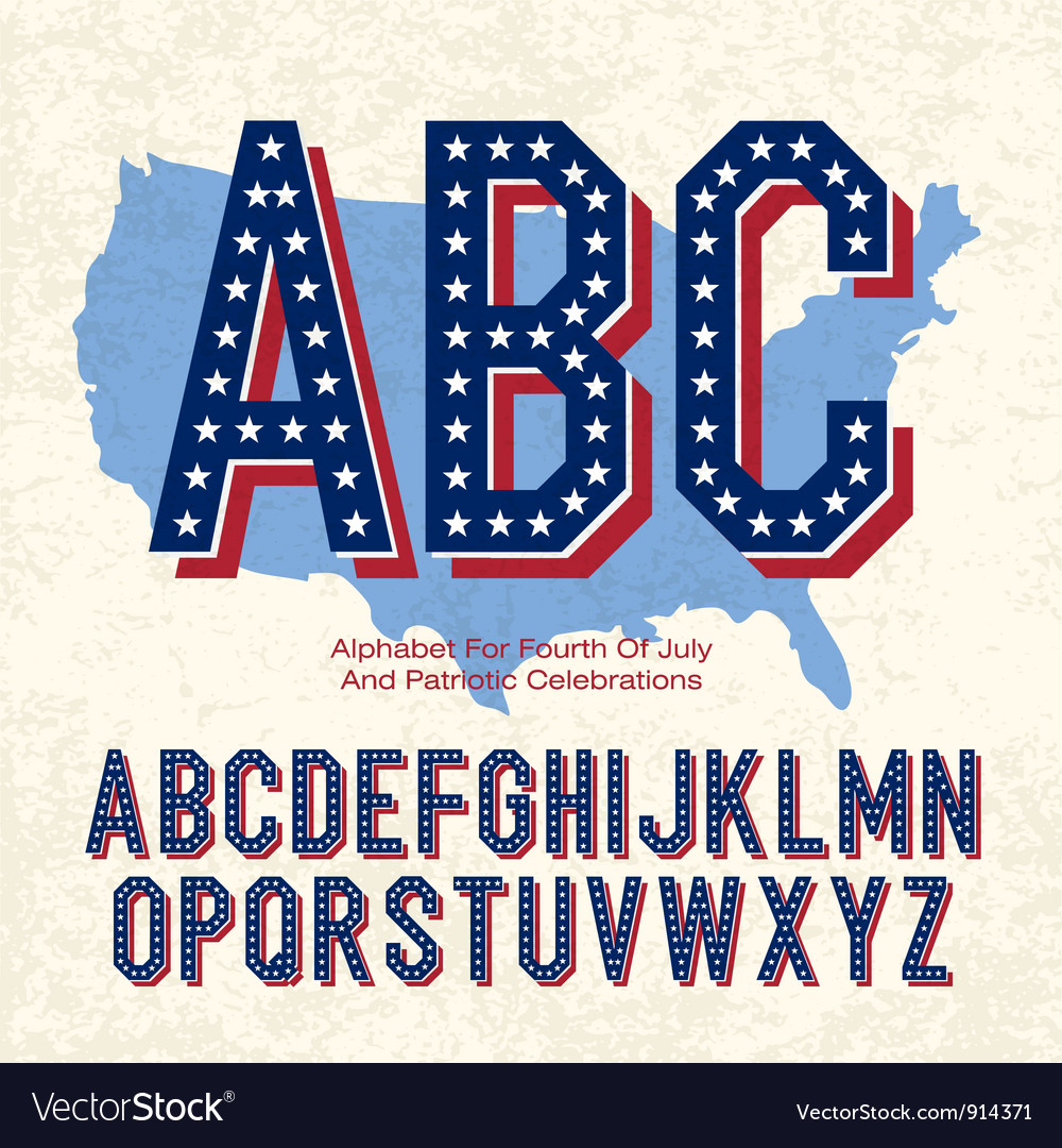 American font 4th july vector | Price: 1 Credit (USD $1)