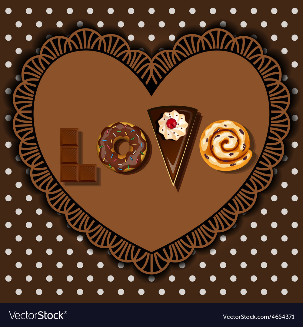 Bake goods and dessert in word of love shape vector | Price: 1 Credit (USD $1)