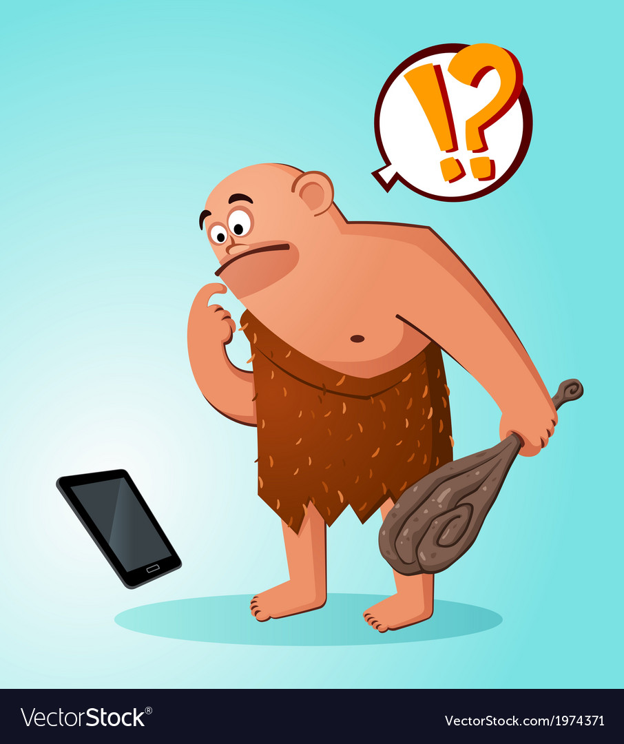 Caveman found a gadget vector | Price: 3 Credit (USD $3)
