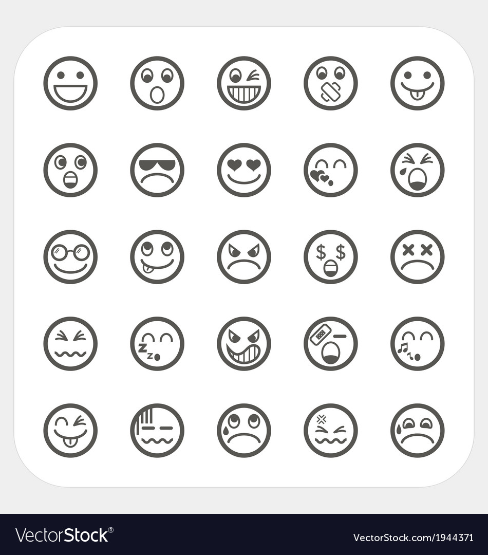 Emotion face icons set vector | Price: 1 Credit (USD $1)