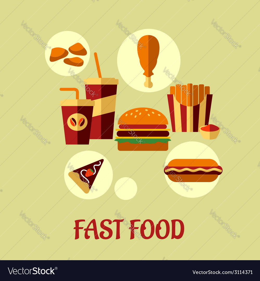 Fast food flat poster design vector | Price: 1 Credit (USD $1)