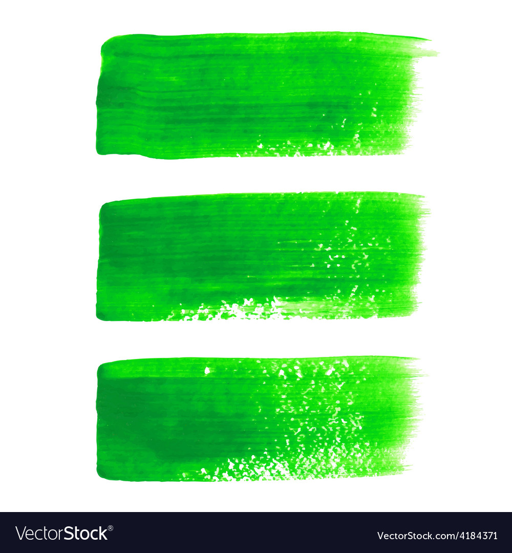 Green acrylic painted brush stroke set vector | Price: 1 Credit (USD $1)