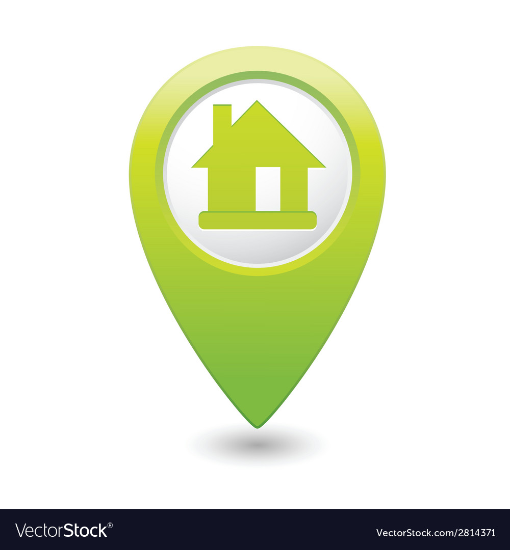 Home icon green map pointer vector