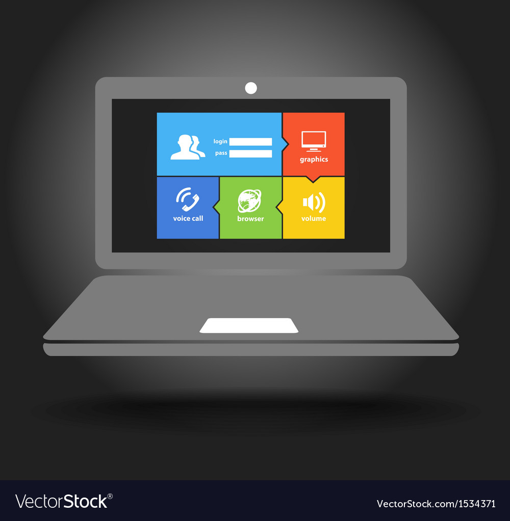 Laptop display with modern color tile interface vector | Price: 1 Credit (USD $1)