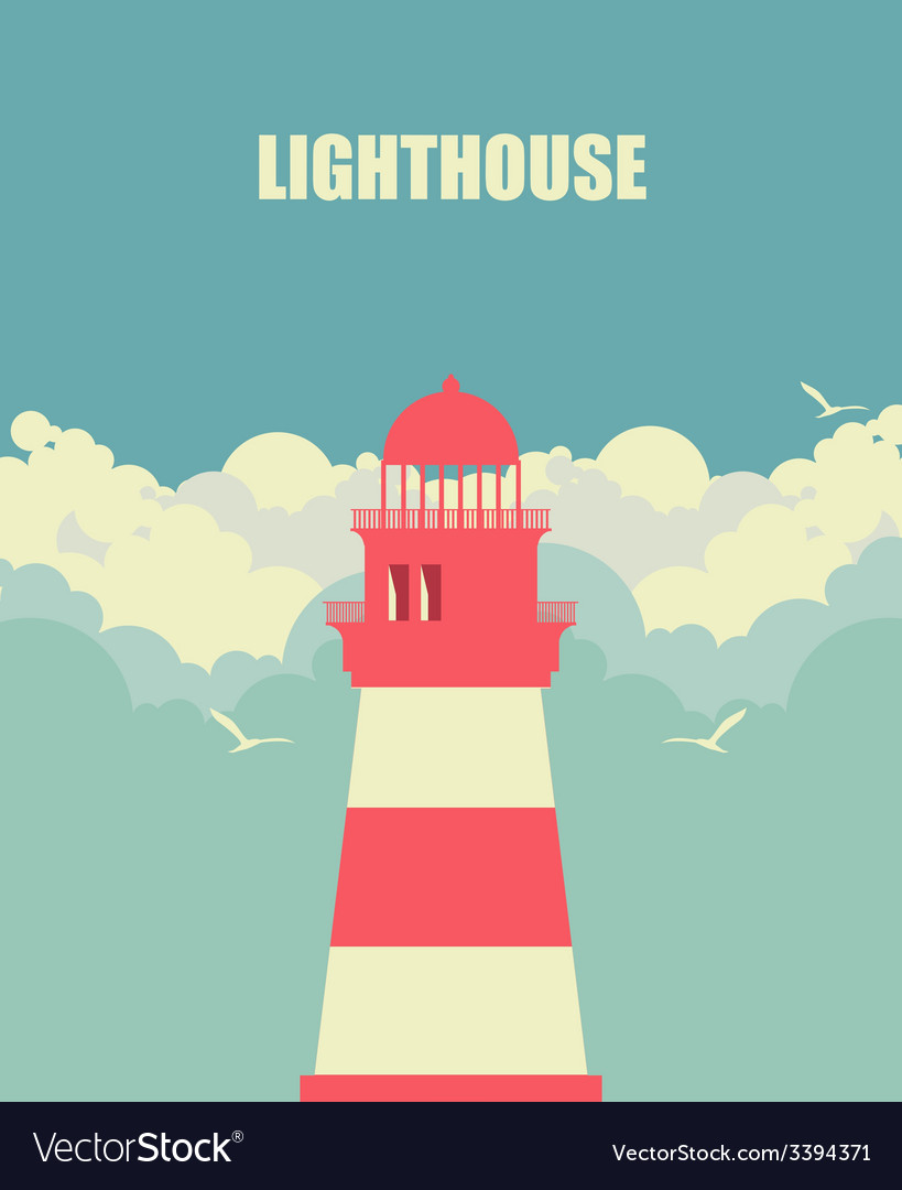 Lighthouse against the sky vector | Price: 1 Credit (USD $1)