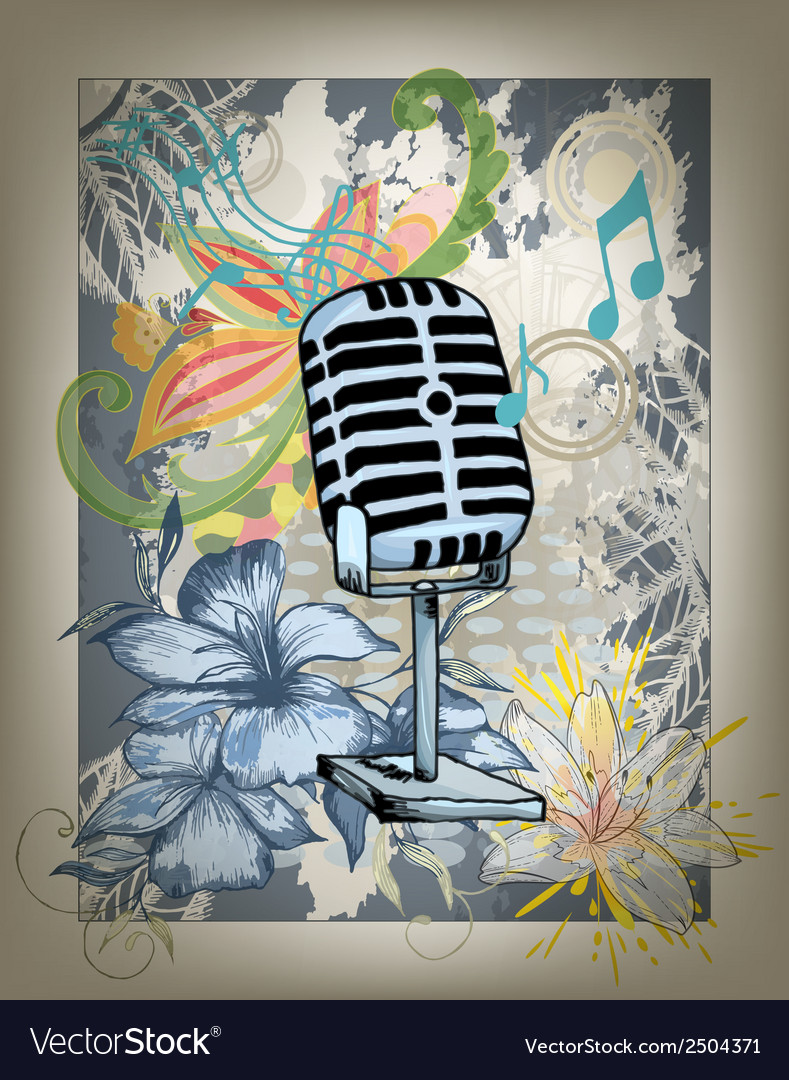 Microphone hand drawn design card vector | Price: 1 Credit (USD $1)