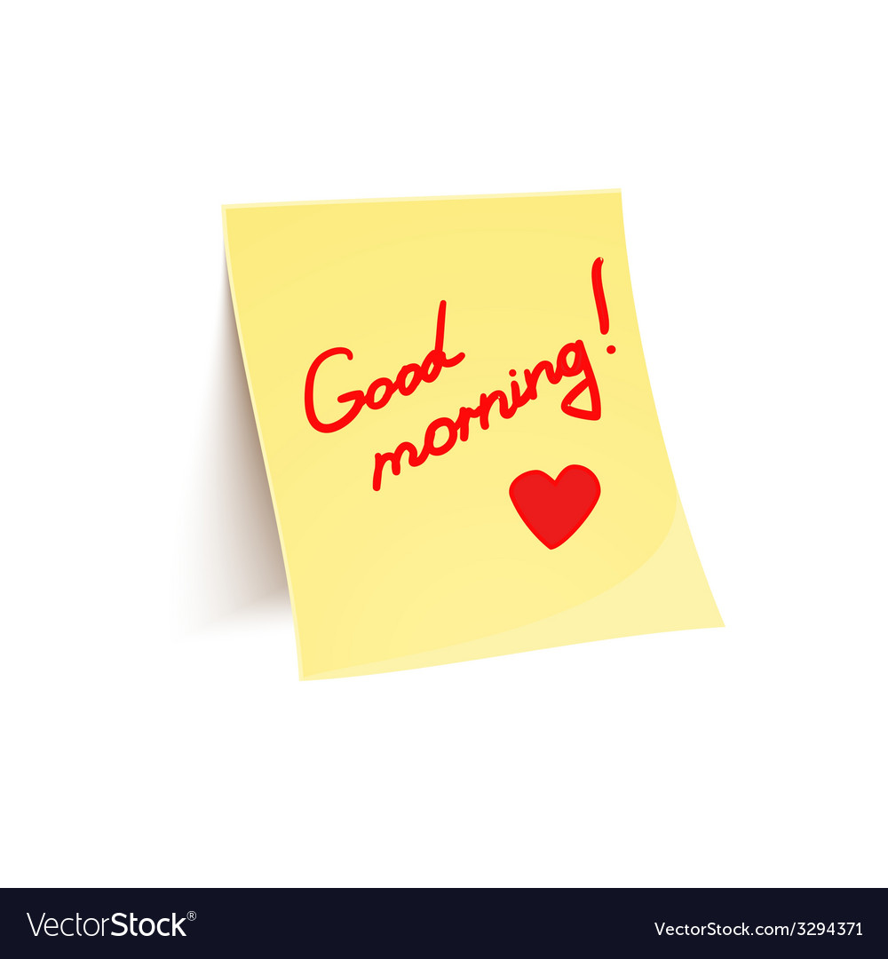 Note to wish good morning glued to wall vector | Price: 1 Credit (USD $1)