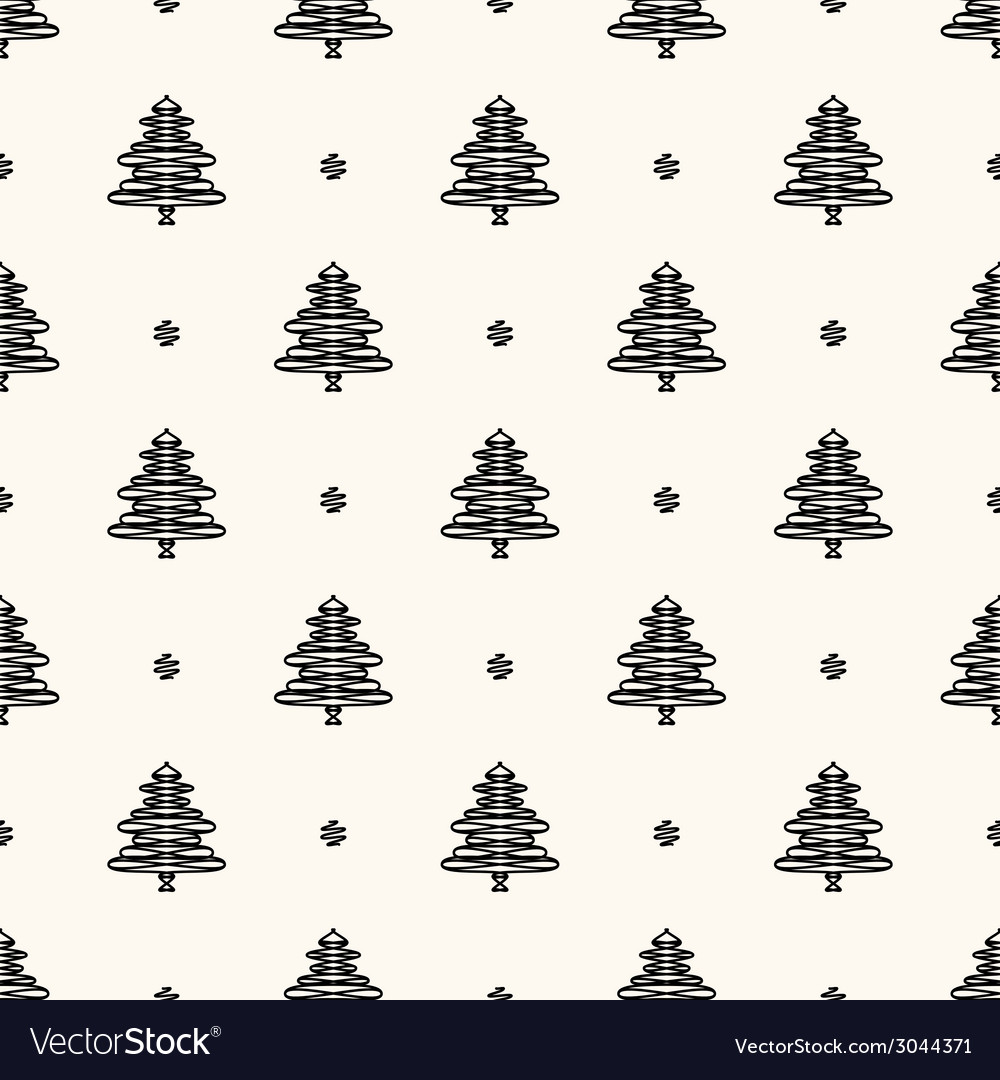 Seamless retro pattern christmas trees vector | Price: 1 Credit (USD $1)