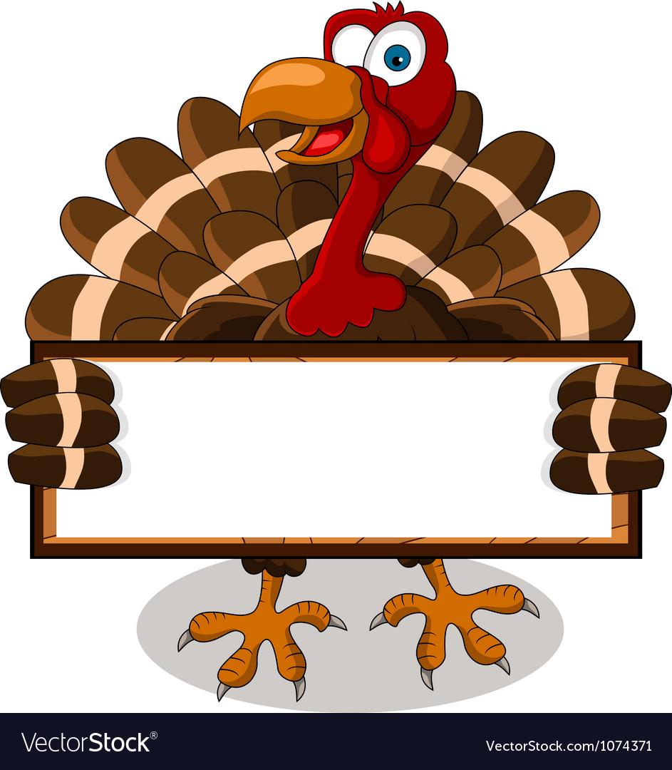 Turkey cartoon with blank board vector | Price: 1 Credit (USD $1)