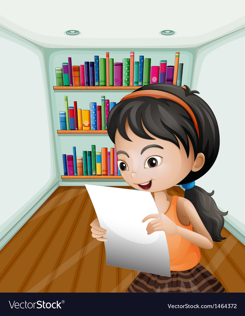 A girl reading her notes in a paper vector | Price: 1 Credit (USD $1)