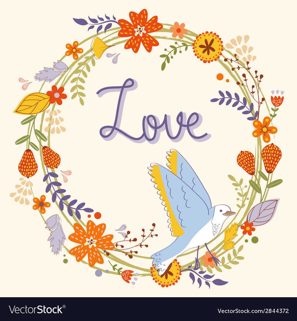Beautiful love card with floral wreath and bird vector | Price: 1 Credit (USD $1)
