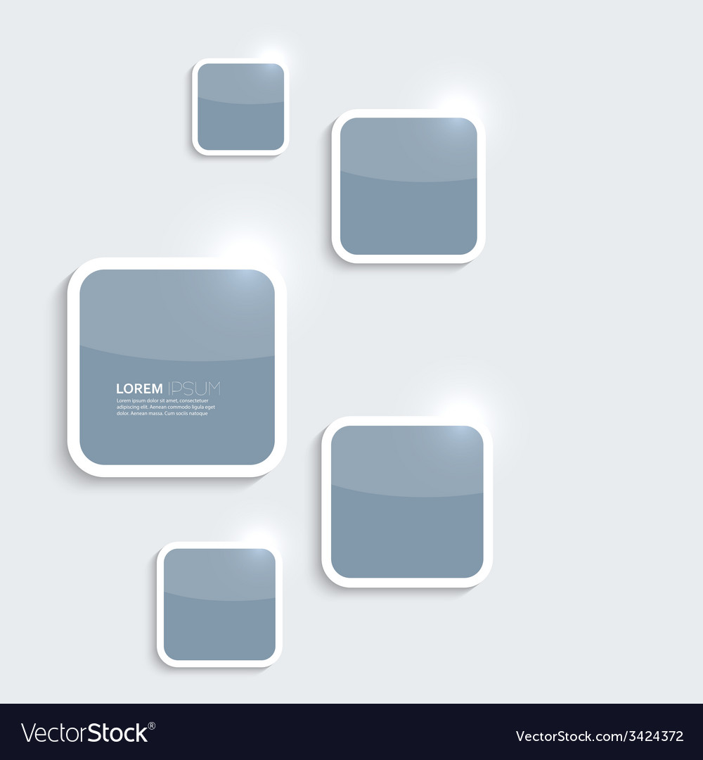 Blue plastic shiny glossy boxes on gray background vector | Price: 1 Credit (USD $1)