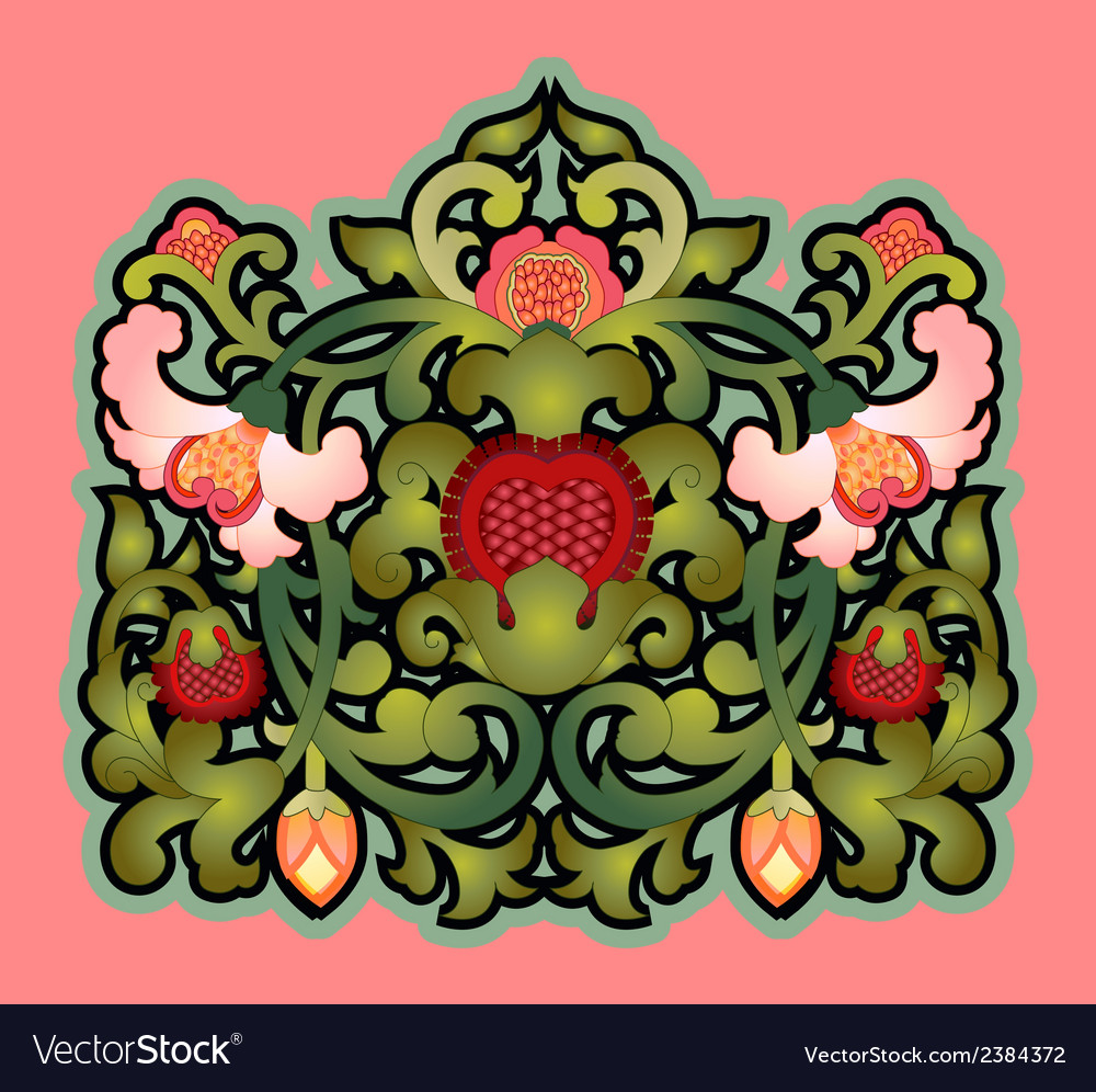 Cartouche with floral decoration vector | Price: 1 Credit (USD $1)