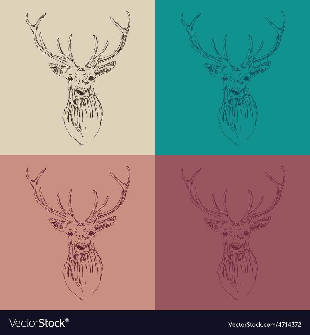 Deer head hipster style with glasses and mustache vector | Price: 1 Credit (USD $1)