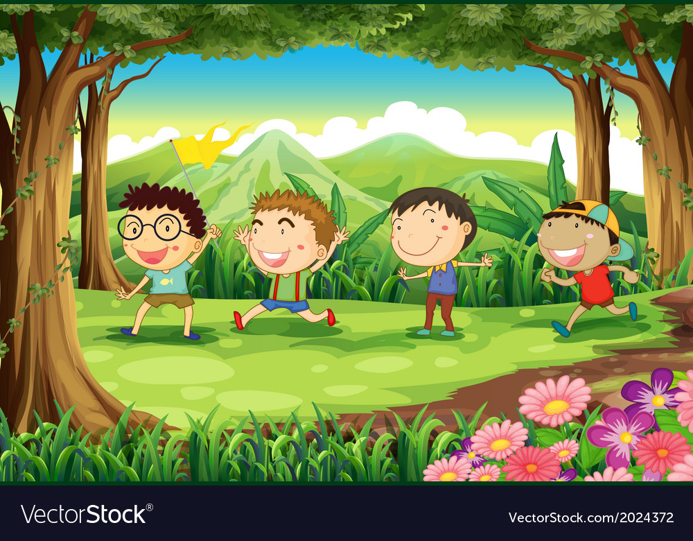Four playful kids at the forest vector | Price: 3 Credit (USD $3)