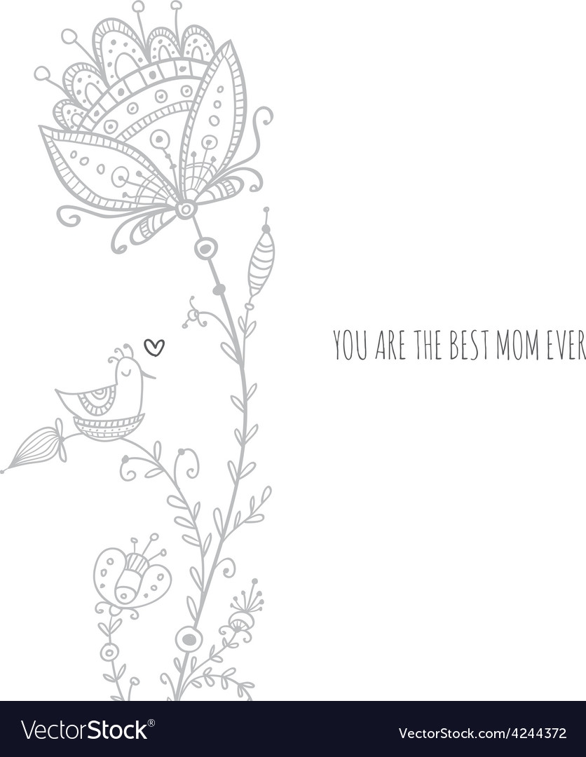 Greeting card to the best mom ever with bird and vector | Price: 1 Credit (USD $1)