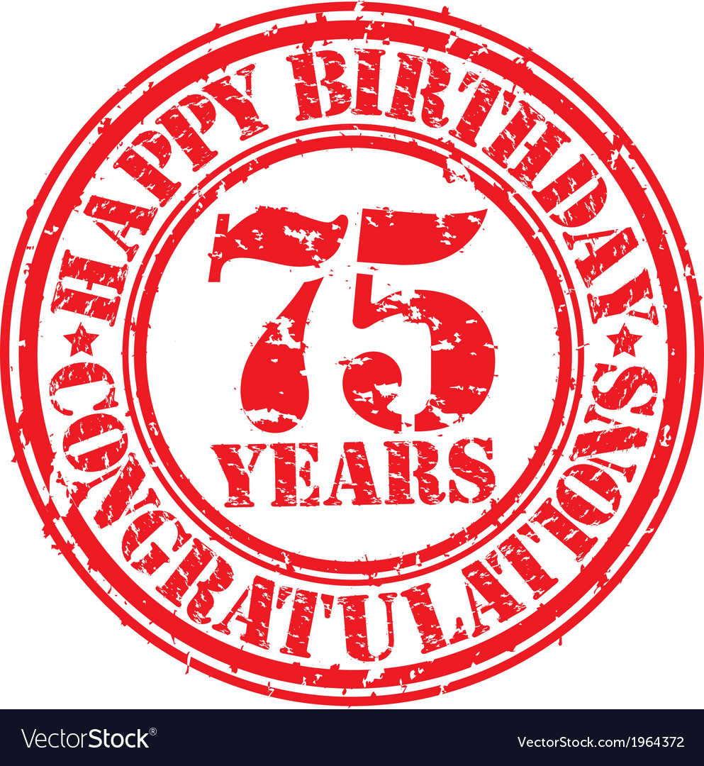 Happy birthday 75 years grunge rubber stamp vector | Price: 1 Credit (USD $1)