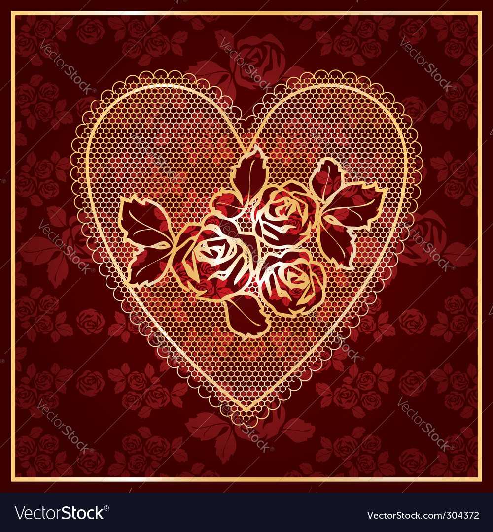 Heart lace vector | Price: 1 Credit (USD $1)