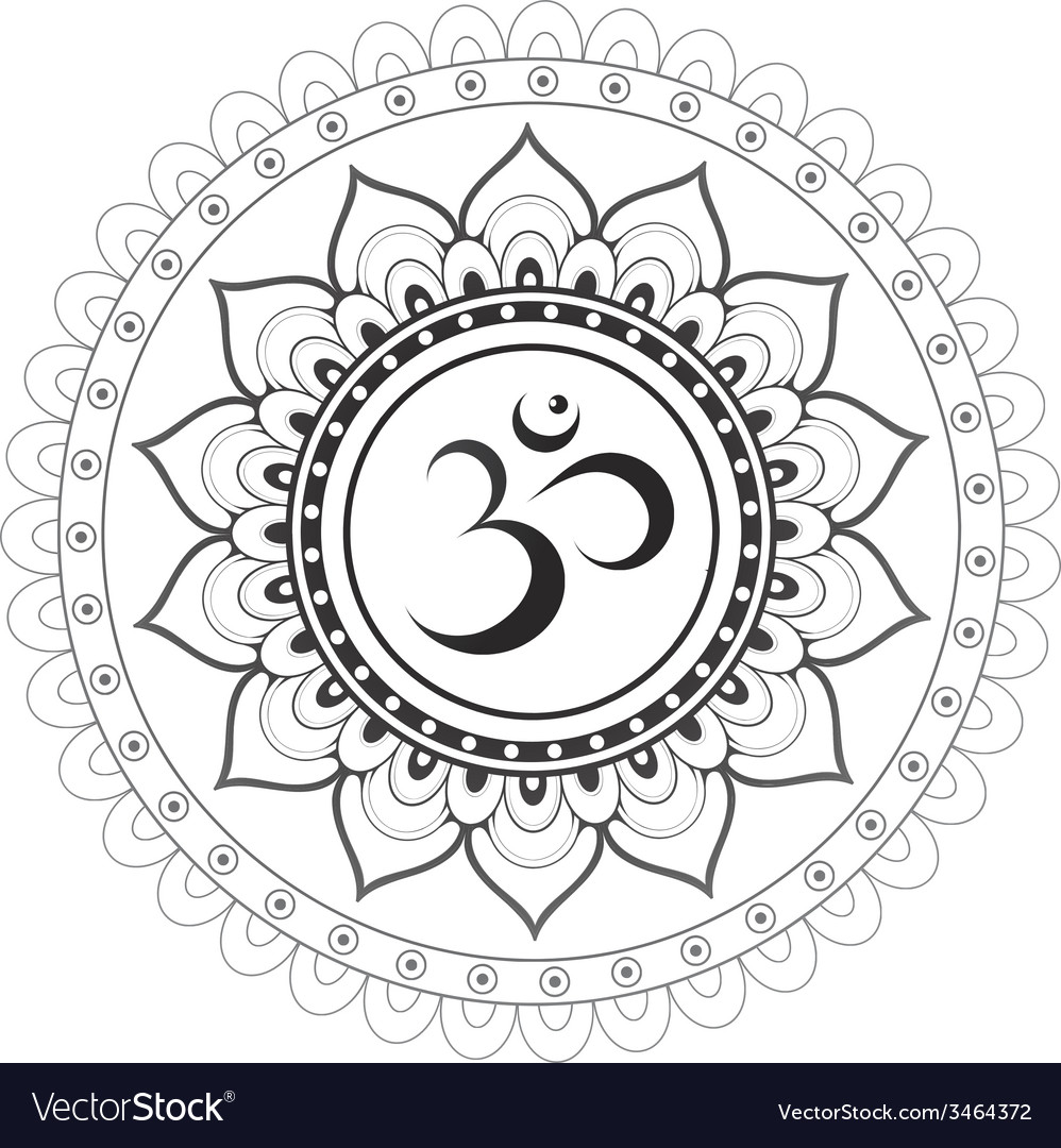 Om sanskrit symbol with mandala ornament vector | Price: 1 Credit (USD $1)