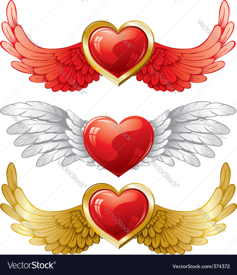 Set of hearts with wings vector | Price: 3 Credit (USD $3)