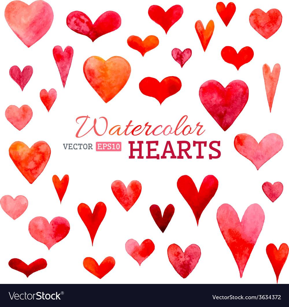 Set of watercolor hearts vector | Price: 1 Credit (USD $1)