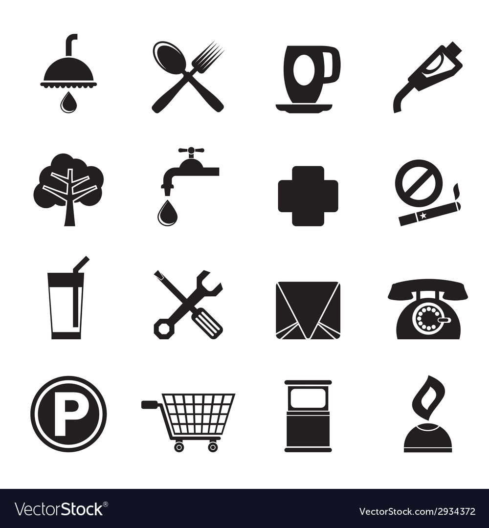 Silhouette petrol station and travel icons vector | Price: 1 Credit (USD $1)