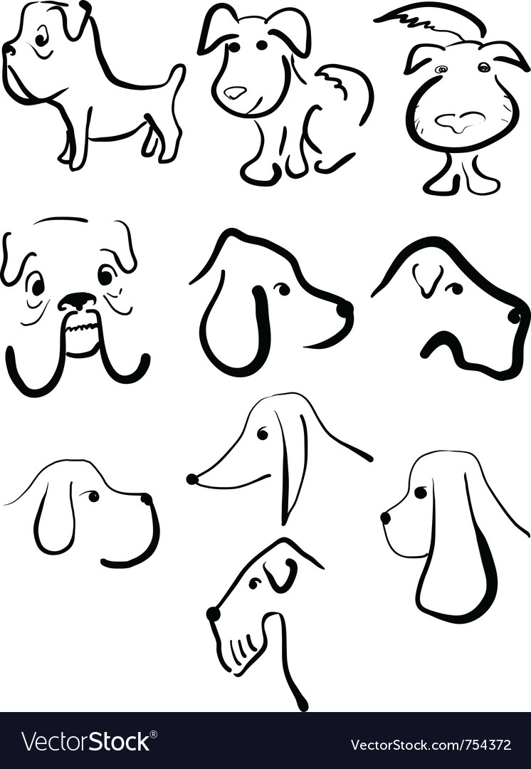 Sketches of dogs vector   Price: 1 Credit (USD $1)