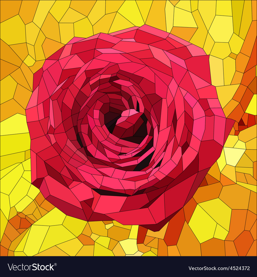 Stained glass with red rose on orange and yellow vector | Price: 1 Credit (USD $1)