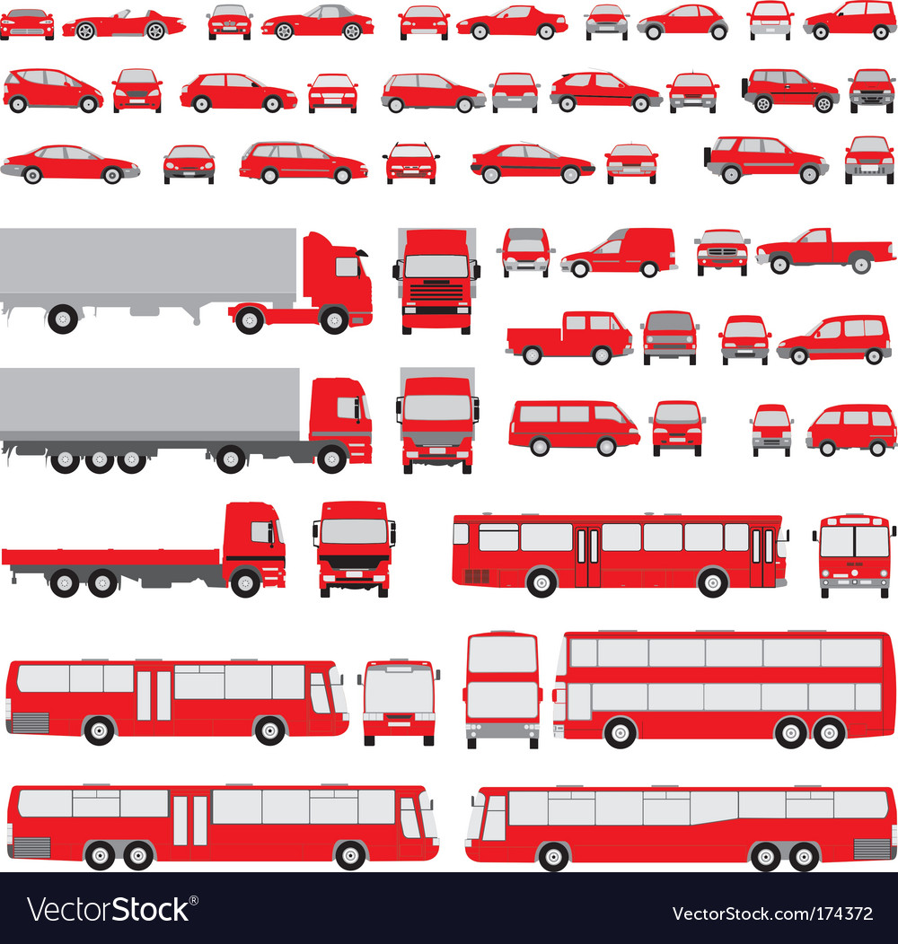 Vehicle assorted silhouettes vector | Price: 1 Credit (USD $1)