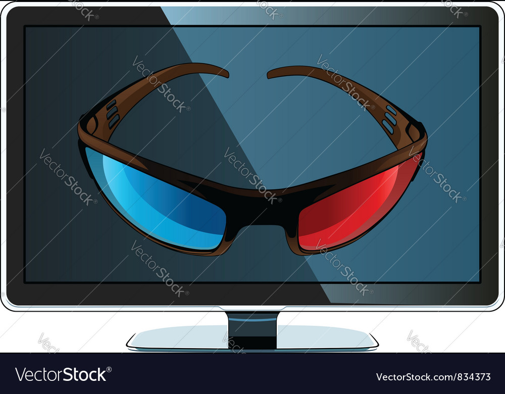 3d monitor and glasses vector | Price: 3 Credit (USD $3)