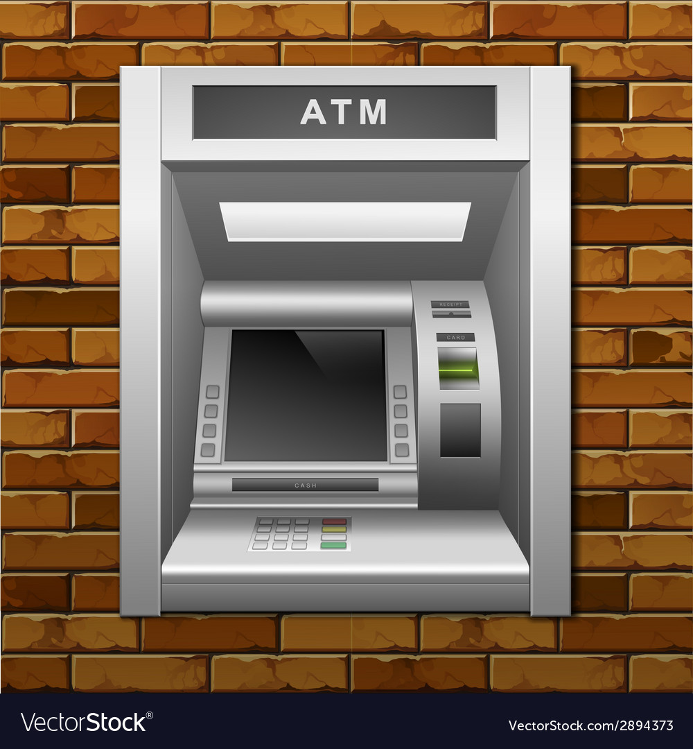 Atm bank cash machine on a brick wall background vector | Price: 1 Credit (USD $1)