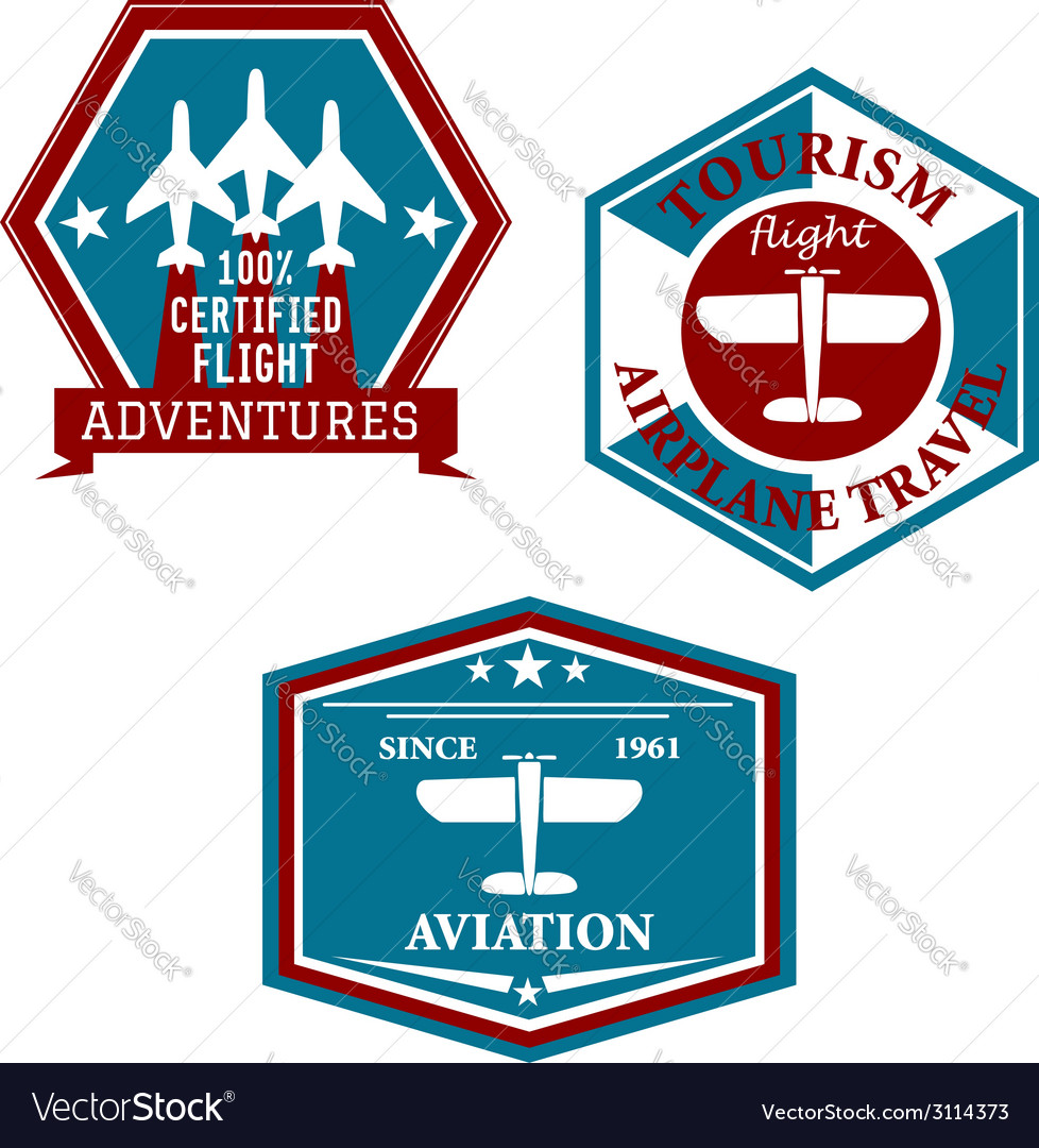 Aviation and tourism emblems vector | Price: 1 Credit (USD $1)
