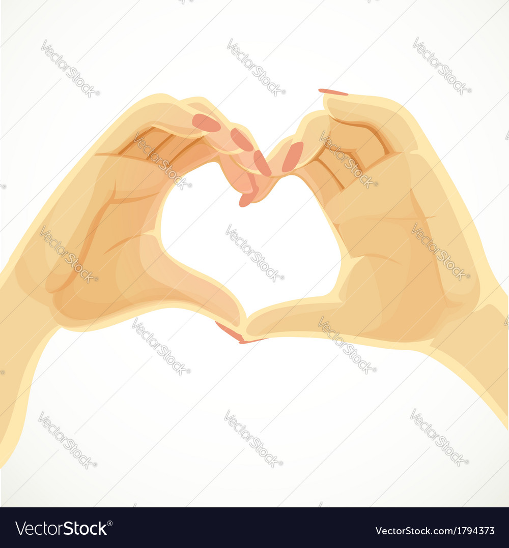 Heart folded from beautiful female hands isolated vector | Price: 1 Credit (USD $1)
