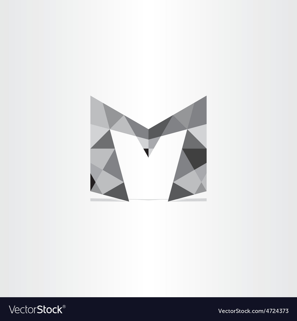 Letter m polygon grayscale icon vector | Price: 1 Credit (USD $1)