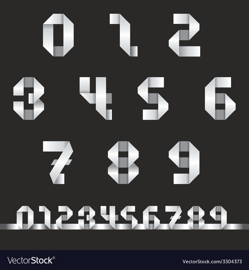 Numbers set origami style vector | Price: 1 Credit (USD $1)