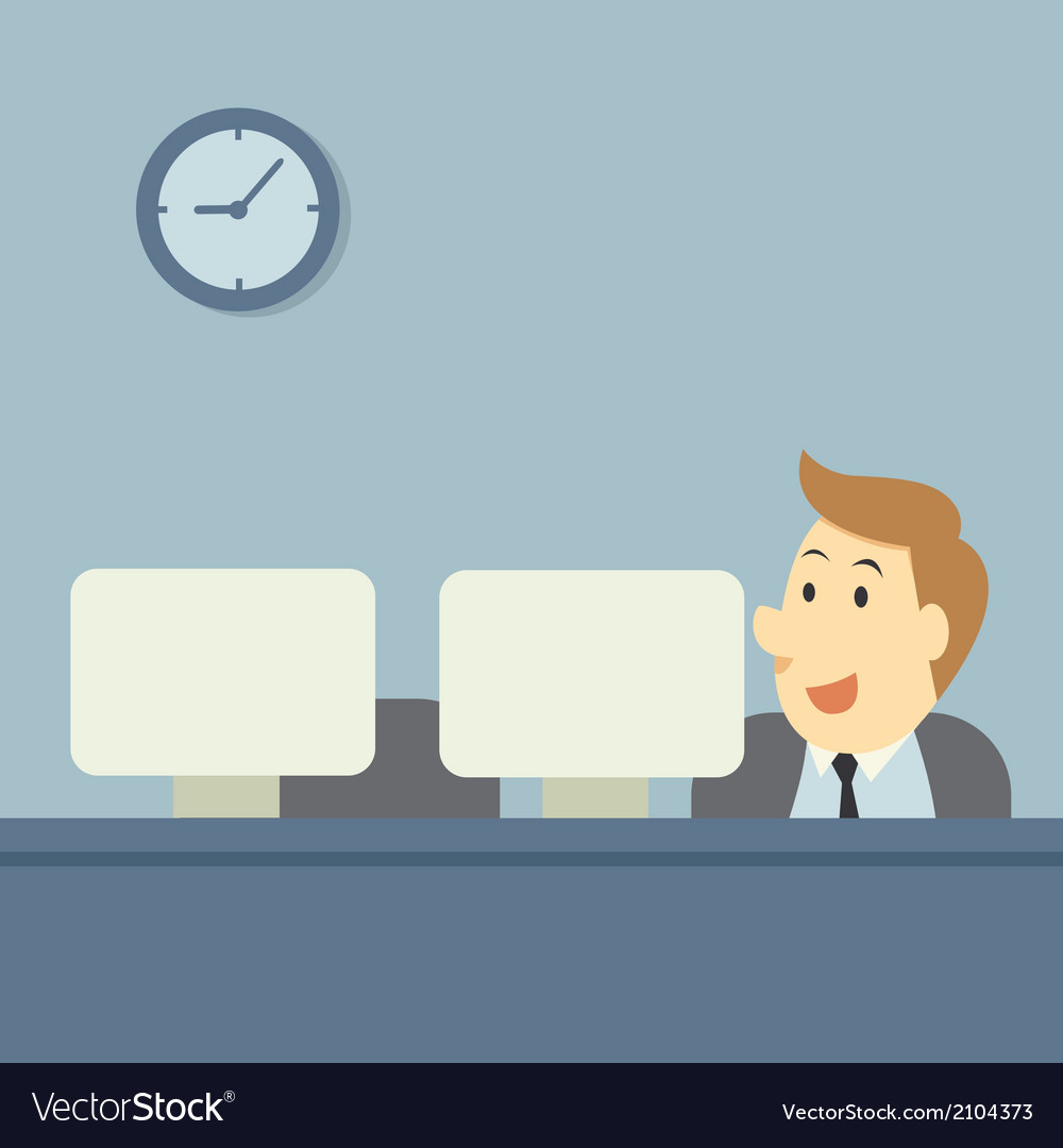 Office workers at their computer vector   Price: 1 Credit (USD $1)