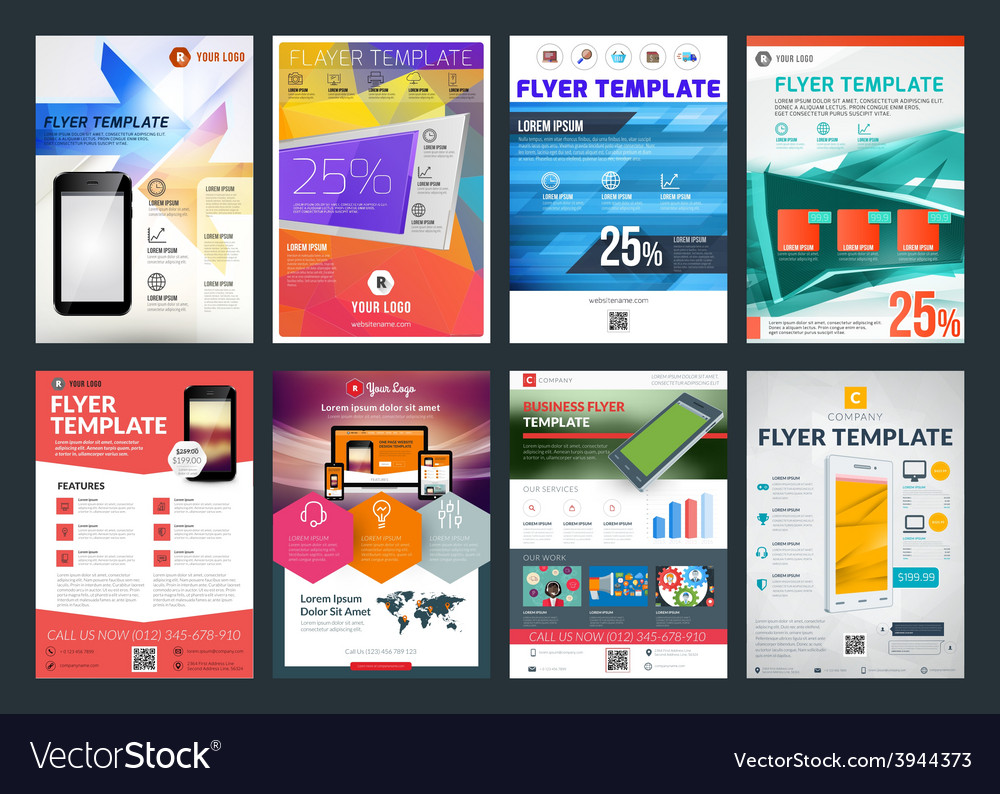 Set of abstract business flyer brochure design vector | Price: 1 Credit (USD $1)