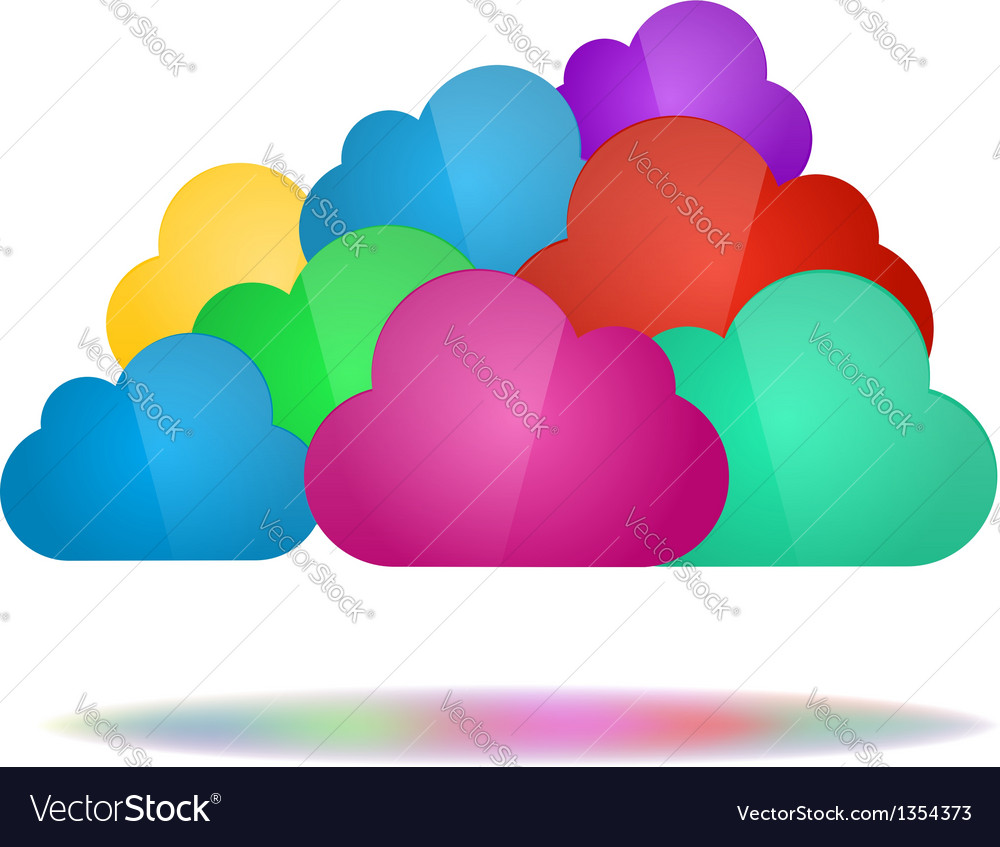 Set of color clouds - cloud computing concept vector | Price: 1 Credit (USD $1)