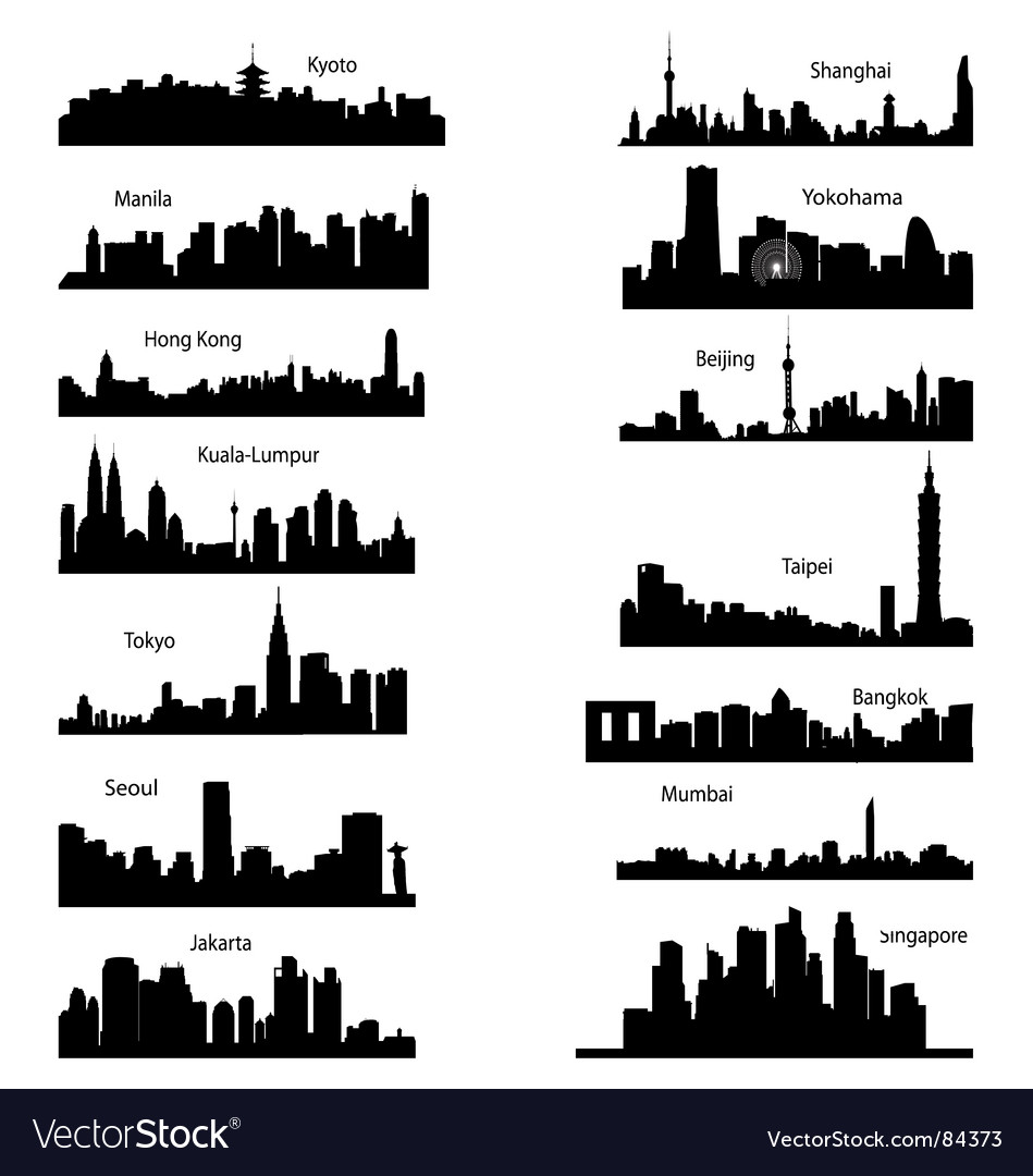 Silhouettes of asian cities vector | Price: 1 Credit (USD $1)