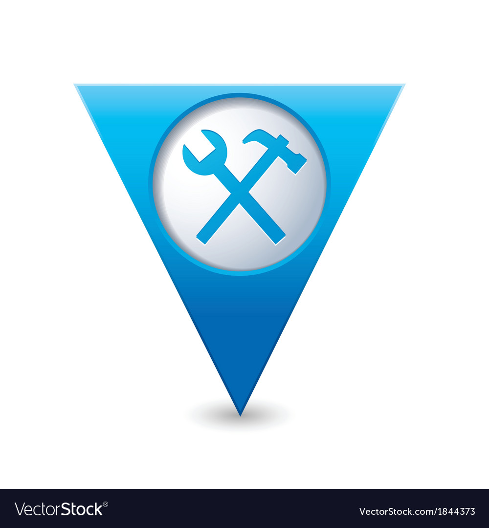 Tools icon map pointer blue vector | Price: 1 Credit (USD $1)