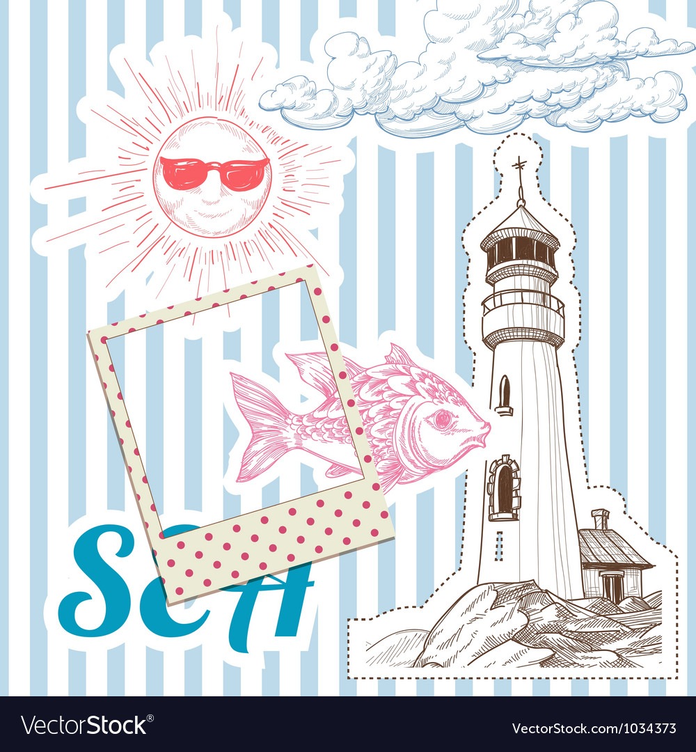 Vacation at sea background marine elements vector | Price: 1 Credit (USD $1)