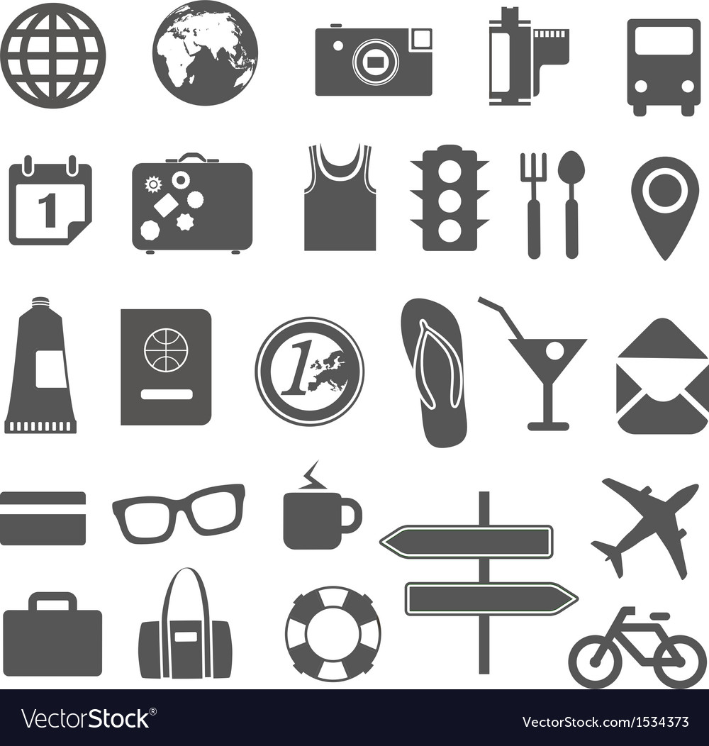 Vacation silhouettes collection vector | Price: 1 Credit (USD $1)