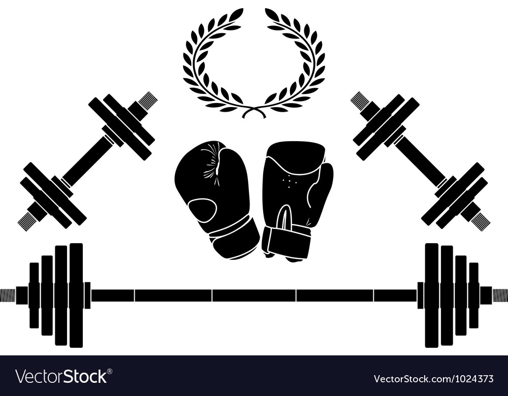 Weights and boxer gloves vector | Price: 1 Credit (USD $1)