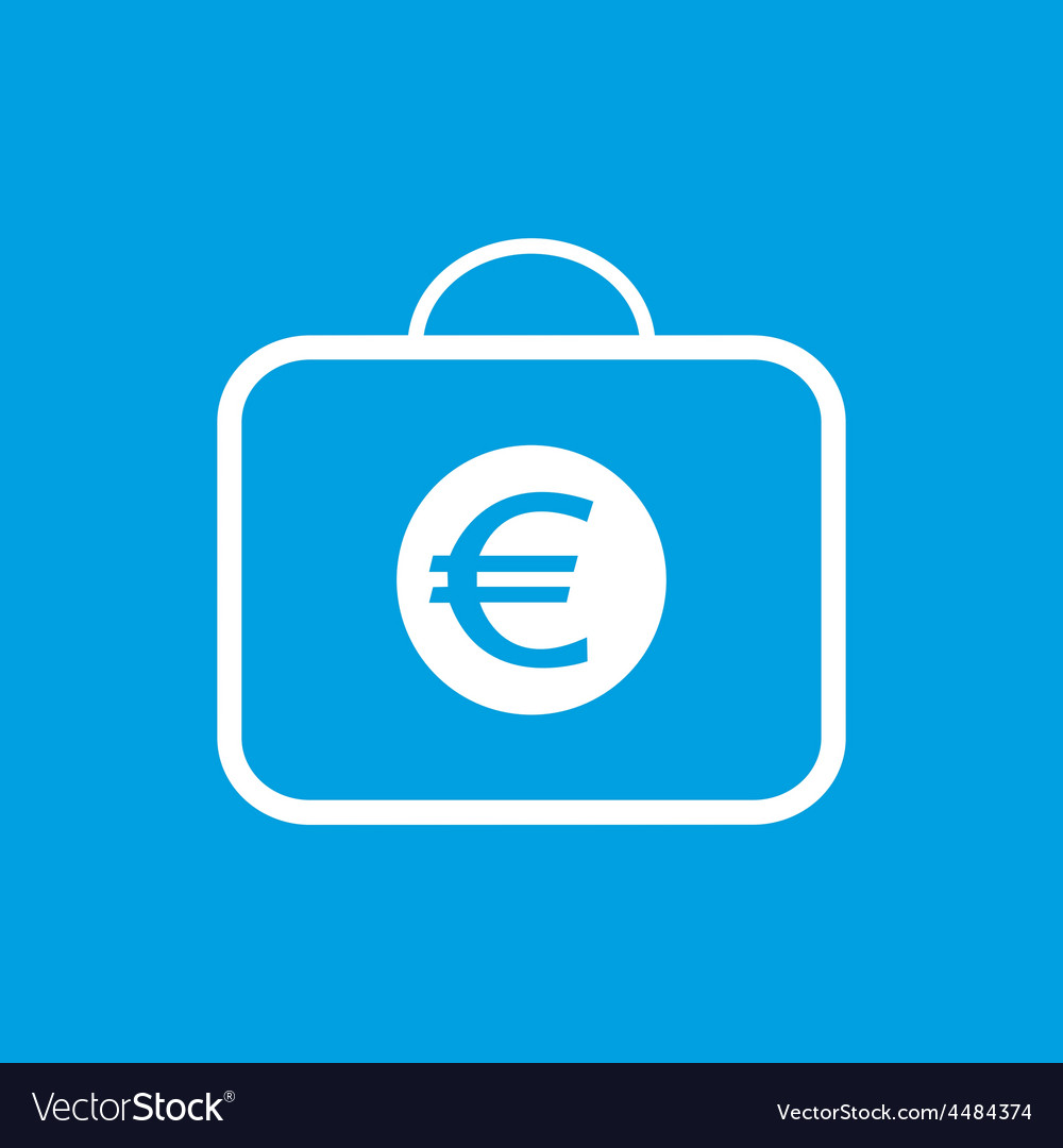 Bag with euro white icon vector   Price: 1 Credit (USD $1)